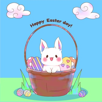 Watercolor happy easter day with bunny in basket