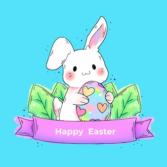 Watercolor happy easter day with bunny holding egg