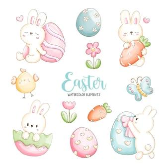 かわいいウサギとイースターエッグと水彩ハッピーイースターの日。