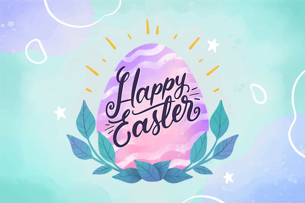 Watercolor happy easter day