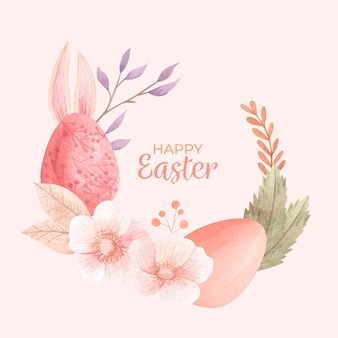Watercolor happy easter illustration