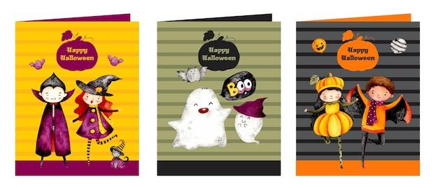 Watercolor happy halloween card
