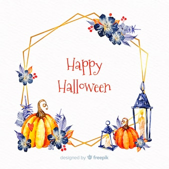 Watercolor happy halloween frame