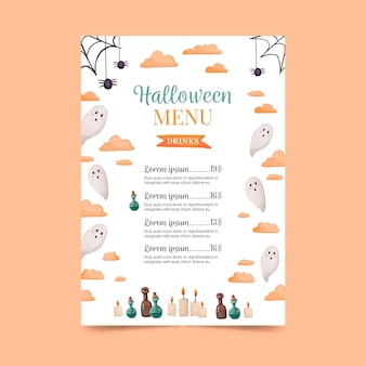 Watercolor happy halloween menu