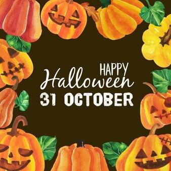 Watercolor happy halloween pumpkin banner.