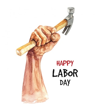 Watercolor happy labor day illustration.