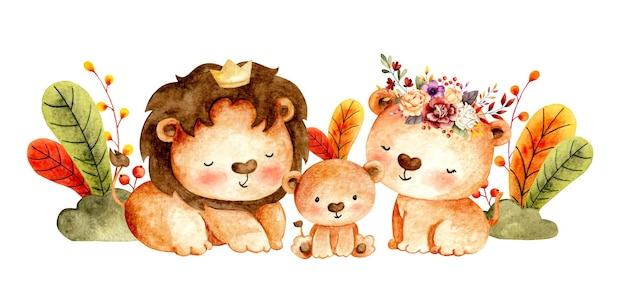 Watercolor happy lion family and leaves Premium Vector