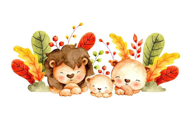 Watercolor happy lion family and leaves