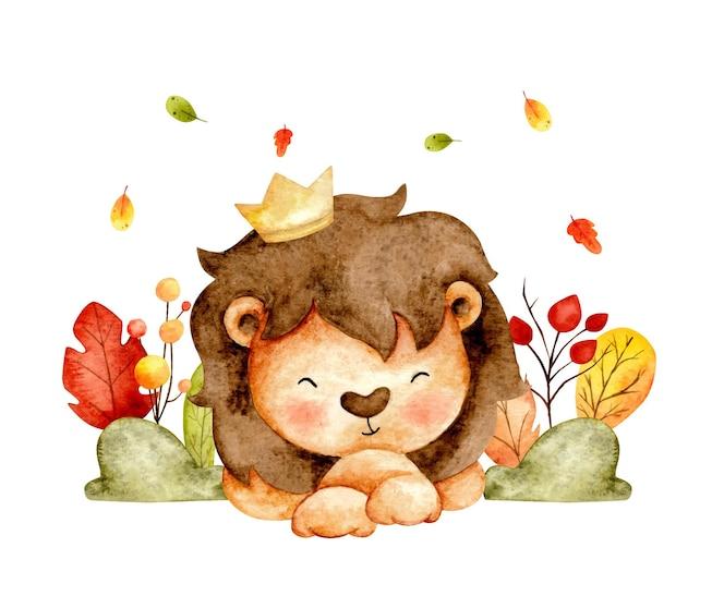 ジャングルの水彩画の幸せなライオンの王
