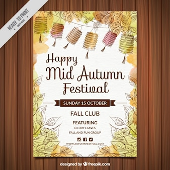 Watercolor happy mid-autumn festival poster