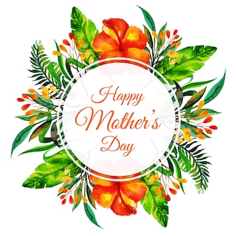 Watercolor Happy Mother's Day Floral Frame Background