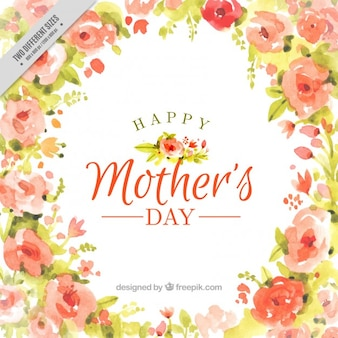 Watercolor happy mother's day full of flowers background