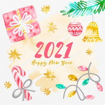 Watercolor happy new year 2021 with gifts
