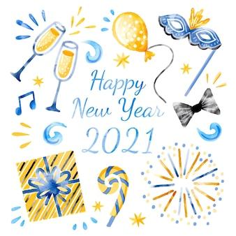 Watercolor happy new year 2021