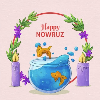 Watercolor happy nowruz celebrating