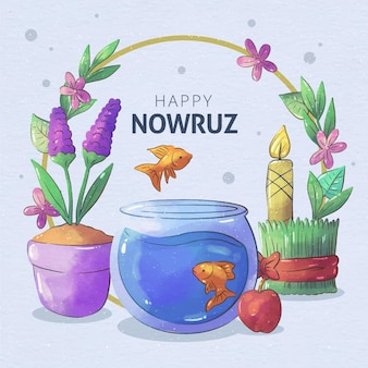 Watercolor happy nowruz celebration