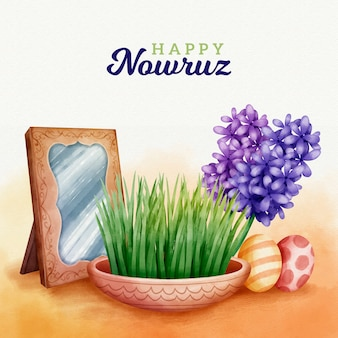 Watercolor happy nowruz day concept