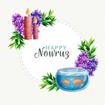 Watercolor happy nowruz day theme