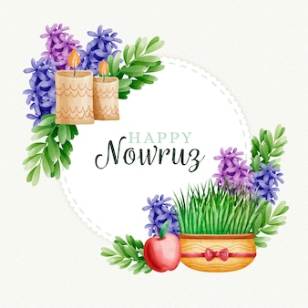 Watercolor happy nowruz day