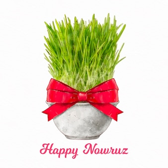 Watercolor happy nowruz illustration with sprouts