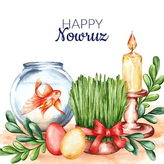 Watercolor happy nowruz illustration
