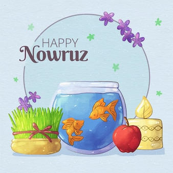 Watercolor happy nowruz illustrationn