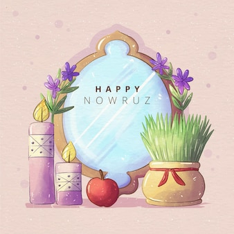 Watercolor happy nowruz mirror illustration