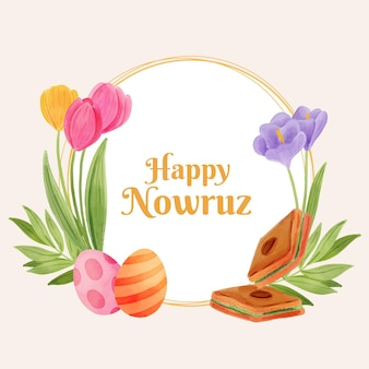 Watercolor happy nowruz painting