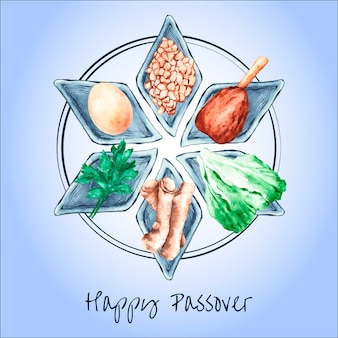 Watercolor happy passover