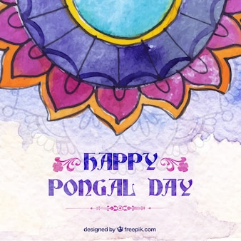 Watercolor happy pongal day beautiful background