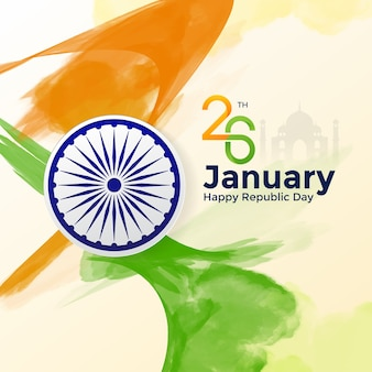 Watercolor happy republic india day background