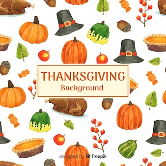 Watercolor happy thanksgiving background