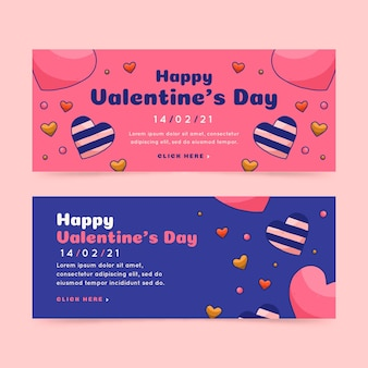 Watercolor happy valentine's day banners