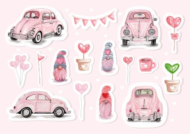 かわいいラマとバレンタインの要素を持つ水彩画の幸せなバレンタインデーのステッカー