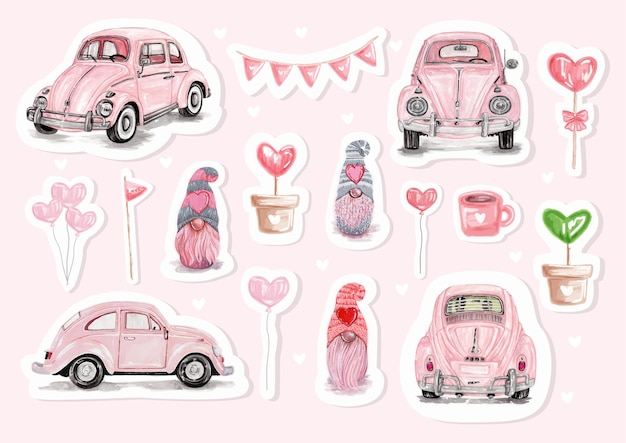 Watercolor happy valentine's day stickers with cute llama and valentine's elements