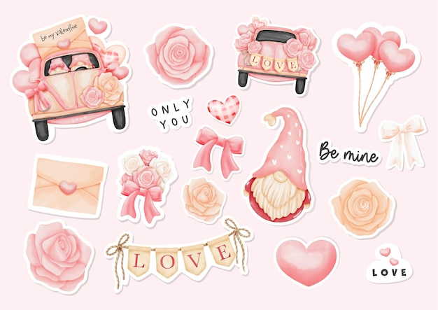 Watercolor happy valentine's day stickers with gnome and valentine's elements.