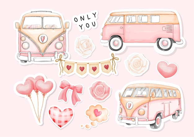 Watercolor happy valentine's day stickers with vintage van and valentine's elements.