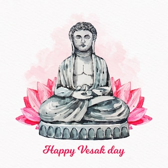 Watercolor happy vesak day concept