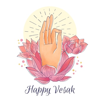 Watercolor happy vesak