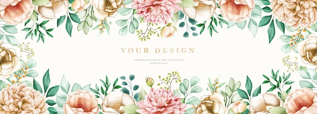 Watercolor hard drawn floral banner