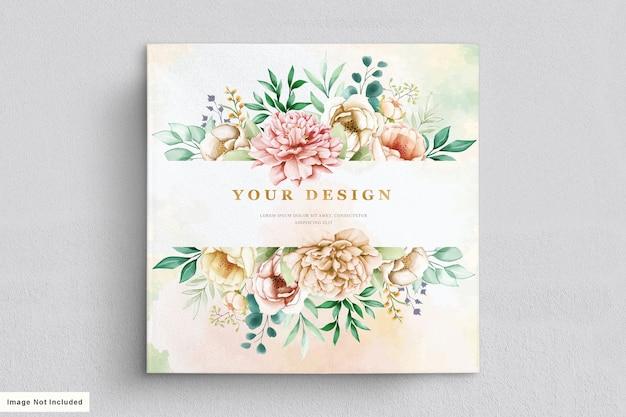 수채화 하드 그린 된 꽃 웨딩 카드