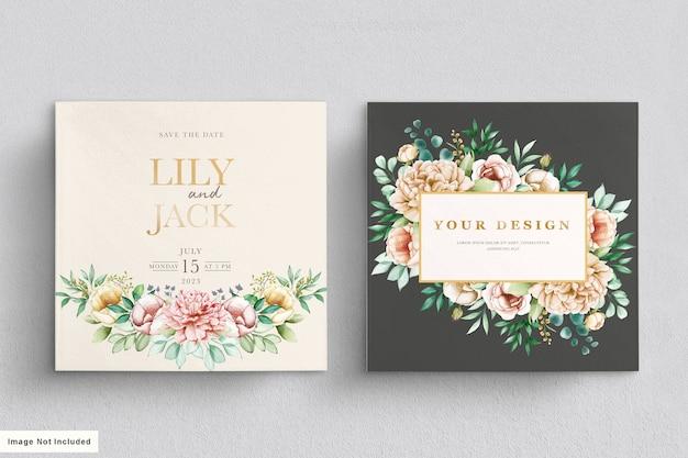 Акварель жестко нарисованные цветочные свадебные открытки