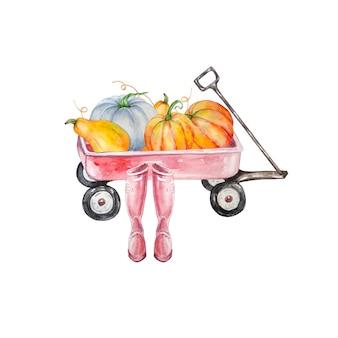 수채화 수확 마차