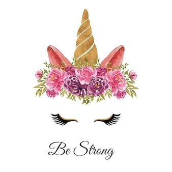 꽃 화환과 유니콘의 수채화 머리는 느슨한 분홍색 보라색 장미