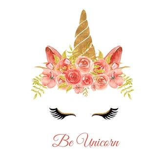 花の花輪のローズレッドとユニコーンの水彩画の頭