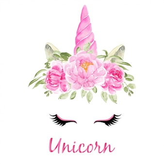 Watercolor head of unicorn with floral wreath pink