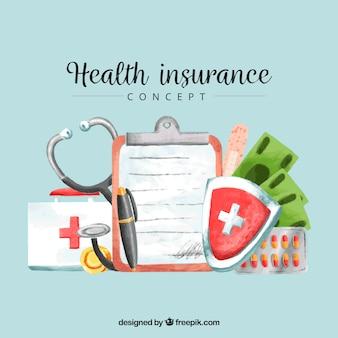 Composizione assicurazioni sanitarie acquerello