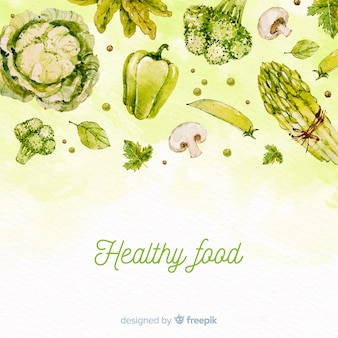 Watercolor healthy food background