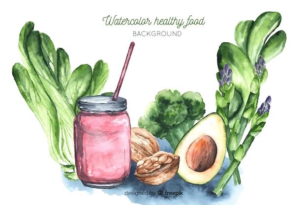 Watercolor healthy food background