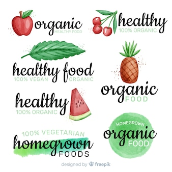 수채화 건강 식품 로고 세트